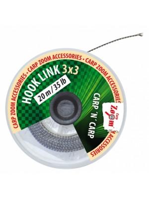 Carp Zoom Nadväzcová šnúra 3x3 - 20m/25lb/11,4kg (hnedá)