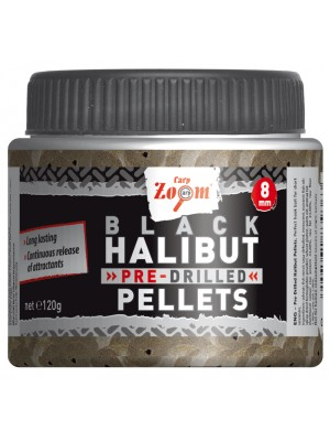 Carp Zoom Pre-Drilled Black Halibut Pellets - 8mm