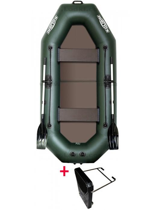 Čln Kolibri K-280 TP zelený, pevná podlaha + By Döme Team Feeder Carp Fighter 60 zdarma